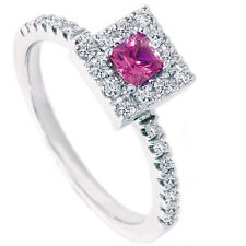 .50CT Pink Sapphire Princess Cut Diamond Engagement Halo Pave Ring White Gold