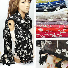 Embroidery Floral Oblong Scarf Soft Comfortable Cotton Shawl Stole Wrap Tassel