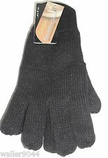 Mens Gents Youths Black 40 Gram Thinsulate Warm Knitted Gloves One Size