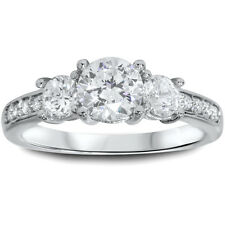 G/SI 1.25 cttw Three Stone 3 Round REAL Diamond Engagement Ring 14K White Gold