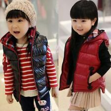 Baby Kids Girls Winter Cotton Hooded Vest Jacket Coat Zipper Warm Outwear 2-6Y
