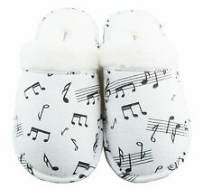 New Leisureland Women's Flannel Cozy Slippers Music Notes Print White