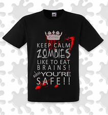 Keep calm zombies eat brains premium t shirt funny 100% cotton Smart-FX