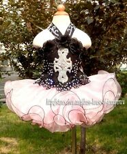 Infant Girl National Pageant Dress Stones Beaded Black/Pink Size 1~10T New G008