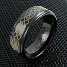 Tungsten Men's Black Celtic Knot Stripe Band Ring Size 9-13