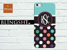 Monogrammed iPhone case polkadot personalized for iPhone 4/ 4s/ 5/ 5s/ 5c dt201
