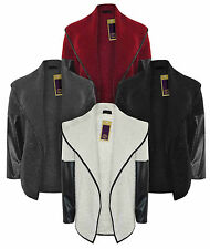 Ladies Asymmetric Cardigan Waterfall Faux Leather PVC PU Sleeves Warm Jacket Top