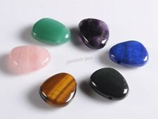 28mm Crystal Healing stone tumbled chunky pendant side drilled bead 2mm big hole