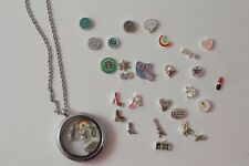 Glass Necklace Pendant & Floating Charms Owl Infinity Hope Snow Flake You Pick
