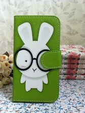 Card Holder Flip Pouch Case for HTC Sony Mobile Animal Big Rabbit in Glass Cover