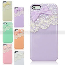 Lovely Bowknot Pearl Handwork Cover For iPhone 5S 5G Back Case Cute Lace Jewelry