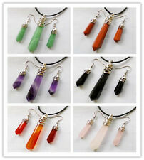 Mixed Gemstone Faceted pendulum Necklace & Earrings Set Mayan-220