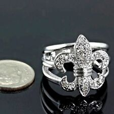 Beautiful Fleur de lis Crystal Ring- Choose Size