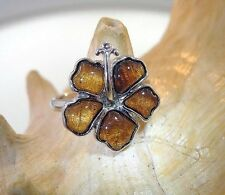 17.5mm Hawaiian Sterling Silver Genuine Koa Wood Pua Aloalo Hibiscus Flower Ring