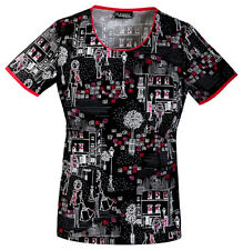 Scrubs Cherokee Runway Print Top  Uptown Girl 3964 UPGL  Buy 3 Shp $6