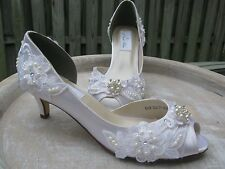 Wedding Shoes Ivory or White Bridal Shoes with Lace Pearls Crystals