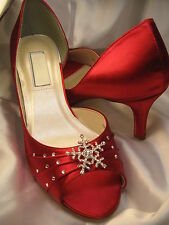 Winter Snowflake Wedding Shoes Red Ivory or White Bridal Shoes Winter Wedding