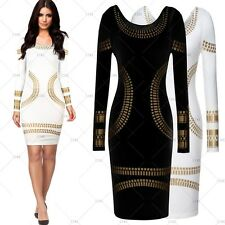 Womens Sexy Long Sleeve Celeb Foil Print Bodycon Evening Party Pencil Dresses