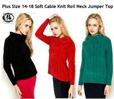 LADIES PLUS SIZE12-18 CABLE KNIT JUMPER ROLL NECK SOFT CHUNKY SWEATER BLOUSE TOP