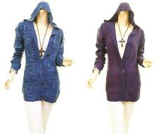 Women Hoodie Cable Knitted Tunic Cardigan Fitted Tweed Sweater Coat Top S M L