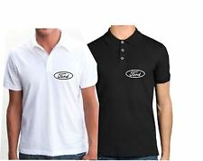 FORD LOGO ADULTS POLO SHIRT T SHIRT 65/35 EMBROIDERY NEW  WHITE / BLACK