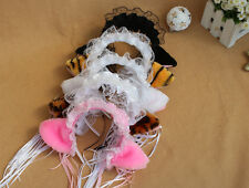 Sweet Cosplay Lovely Lolita Maid Party Neko Hair Band Headband Lace Bow Cat Ears