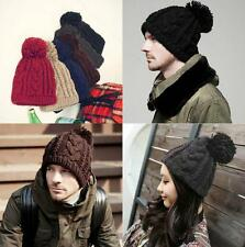 Fashion Unisex Chunky APLE Knit Winter Warm Woolly Bobble Beanie Ski Hat Cap