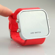 LED Digital Calendar Day / Date Silicone Sport Mirror Faceless Color Jelly Watch