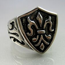 Biker Heavy Black Silver Stainless Steel  Knight Fleur De Lis Shield Mens Ring