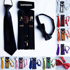 Kids Boys Girls Clip-on Y-Back Braces Elastic Suspenders + Bow Tie + NeckTie