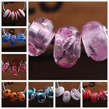 10pcs Round Glass Murano Big Hole Lampwork Beads Fit European Charm Bracelet
