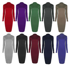New Womens Ladies Turtle Polo Neck Long Sleeve Stretch Bodycon Midi Length Dress