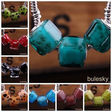 10pcs Glass Loose Square Big Hole Lampwork Beads Fit European Charm Bracelet