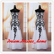 New Sexy Black White Mermaid Lace Prom Party Evening Dresses Bridesmaid Dress