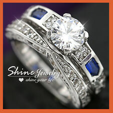 9K WHITE Gold GF R95 ENGAGEMENT BRIDAL solitaire DIAMOND LADIES GIRLS SOLID RING