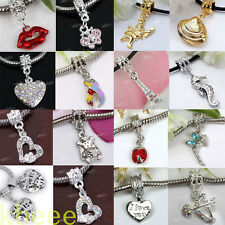 Love Heart Alloy Crystal Charm European Beads Charms Dangle For Bracelet Chain