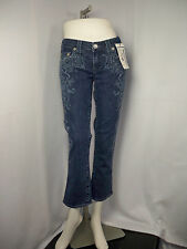 True Religion NEW Women DK STONE ENZY Rolled Capri Jeans CATHEDRAL design  $246