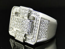 New Mens 3D Exotic Weaving .316 Steel Lab Diamond Pinky Ring White Gold Finish