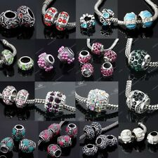 Wholesale Crystal Silver Plated Big Hole Charms European Bead For Charm Bracelet