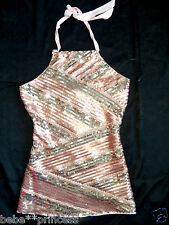 NWT bebe stiped contrast party sequin bead halter dress top tank XS S M L WOW