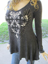 Vocal Mineral Wash Black Iron Cross A Line Tunic Tattoo Shirt Sexy S M L XL