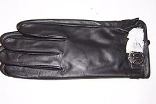 NEW MICHAEL KORS MK BLACK LEATHER GLOVES MSRP $88 535399