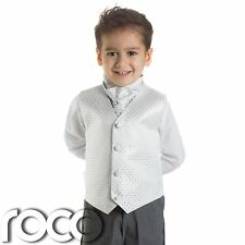 Baby Boys White & Grey Waistcoat Suit, Page boy Suits, boys Wedding suits