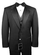 Sizes 35-64 Long. 6-Piece Complete Tuxedo Package with Flat Front Pants & Vest