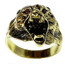 14kt Yellow Gold gp Savage Wolf Red Eyes Mens Ring Size  9-14 M223