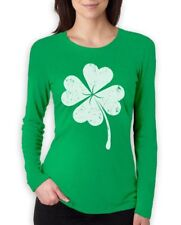 Faded Shamrock Women Long Sleeve T-Shirt Distressed Clover St Patricks IRISH