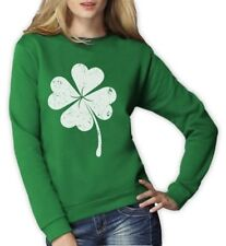 Faded Shamrock Women Sweatshirt Distressed Lucky Clover For St Patricks Day