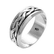 925 Sterling Silver Men's Interwoven Spinning Band Ring Size 9-14