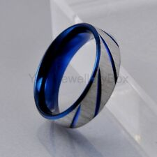 Mens Blue Silver Brushed 316L Stainless Steel Traditional Wedding Band Ring 7mm
