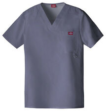 Scrubs Dickies Xtreme Stretch Men's V-Neck Top 81910 Pewter Buy 3 Ship $6